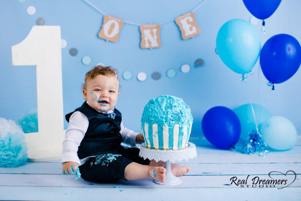 Smash Cake Servizio Fotografico - torta blu