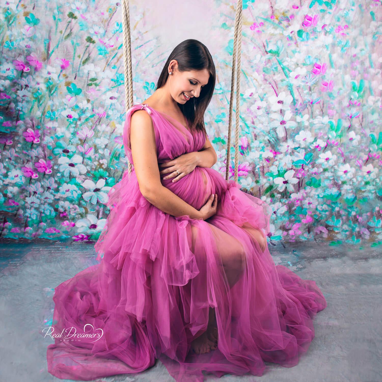Fotografa Bambini - Mamma col pancione con vestito di tulle
